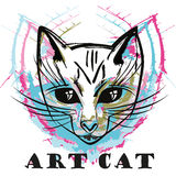 Abstract ink cat portrait Royalty Free Stock Image