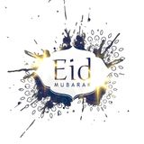 Abstract ink splatter eid mubarak design background Royalty Free Stock Photography