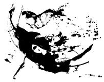 Abstract ink splatter with scattered paint dots. And brush strokes Stock Photography