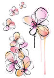 Abstract watercolor flowers, vector. Abstract ink and watercolor flowers, vector background Royalty Free Stock Image