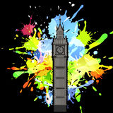 Abstract inkblot background. Abstract inkblot colorfull background on black with spluches and silhouette of Big Ben London royalty free illustration