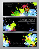 Abstract inkblot colorful banners. Abstract inkblot colorfull colorful bannerson black with spluches royalty free illustration