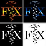 Abstract inscription fix screw business logo Stock Images