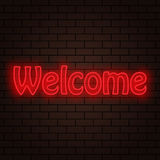 Abstract inscription welcome neon lights. On a brick background vector illustration