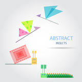 Abstract Insects. Geometric colored funny snail, dragonfly, butterfly and caterpillar. Vector illustration Royalty Free Stock Image
