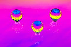 An abstract installation with three crystal spheres Royalty Free Stock Images