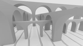 Abstract instersection of arc bridges 3d illustration. Abstract instersection of arc bridges 3d render Royalty Free Stock Photography