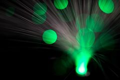 Abstract, intentionelly defocused lights on optical fibres. Technology background image stock image