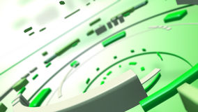 Abstract interactive media hud. A 3D rendered image of a virtual data hud. A futuristic interactive dashboard for a modern design. In bright green and white stock illustration