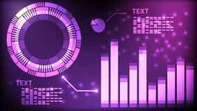 Abstract interface digital technology purple background. Illustration Concrpt Infographic Technology purple background Stock Photos