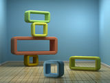 Abstract Interior. With color frames. 3d rendered image Royalty Free Stock Photo