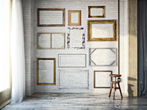 Abstract interior of assorted classic empty picture frames against a white brick wall with rustic hardwood floors. Photo realistic 3d model scene Stock Photos