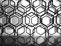 Abstract interior background, honeycombs. Abstract interior background with shiny black honeycomb installation, 3d render illustration Stock Photo