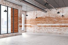 Interior with empty brick wall. Abstract interior with city view and empty brick wall. Mock up, 3D Rendering Royalty Free Stock Photography