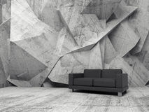 Abstract interior, concrete room with black sofa. Abstract interior, concrete office room with chaotic relief pattern on the wall and black leather sofa, 3d Royalty Free Stock Image
