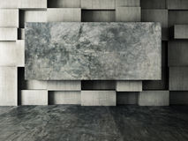 Abstract interior of concrete wall background. 3d rendering Stock Photography