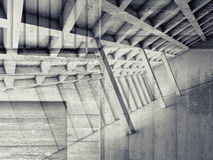 Abstract interior with empty room and concrete. Abstract architecture background with perspective view of empty room and concrete texture, 3d illustration Stock Images