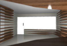 Abstract interior with empty wood shelfs Stock Photo