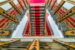 Abstract interior fragment, flight of ornate stairs, looking down stock image
