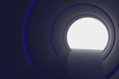 Abstract interior with glow lines and white exit in end corridor. 3d rendering.  Stock Photo