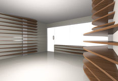Abstract interior with horizontal wood shelfs Royalty Free Stock Image
