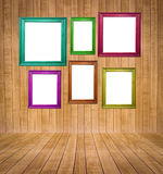 Abstract interior of parquet room with retro frames Stock Photos