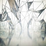 Abstract interior with polygonal window Royalty Free Stock Images