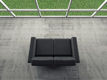 Abstract interior, room with sofa, grass outside. Abstract interior, concrete room with window and black leather sofa, green grass grow outside, 3d illustration Stock Photography