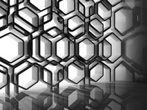 Abstract interior with shiny black honeycomb. Installation, 3d illustration Royalty Free Stock Photo