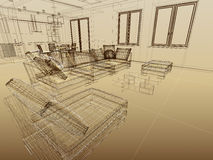 Abstract interior sketch. Abstract wireframe interior. Fragment with sofas. 3-d sketch as an architectural concept. Wide angle Stock Photography