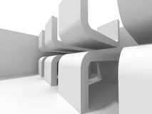 Abstract Interior White Architecture Background. 3d Render Illustration Royalty Free Stock Images