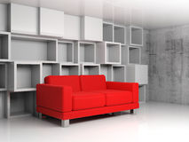 Abstract interior, white cubic shelves, red sofa 3d. Abstract interior, room fragment with white cubic shelves decoration on the wall and red leather sofa, 3d Royalty Free Stock Image