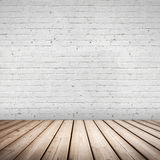 Abstract interior. Wooden floor and white wall royalty free stock image