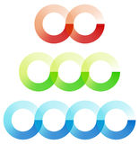 Abstract interlocking circles element set with 3 variation 2, 3 stock illustration
