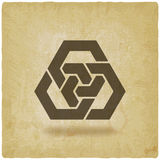 Abstract interlocking hexagons vintage background. Vector illustration - eps 10 royalty free illustration