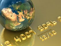 Abstract international gold credit card. Business illustration. Abstract international gold credit card. Business 3d illustration Stock Photography