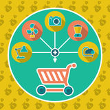 Abstract internet shopping cart flat concept. Add to cart illustration with set icons Royalty Free Stock Photos