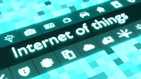 Abstract internet of things concept in blue with icons Stock Photo