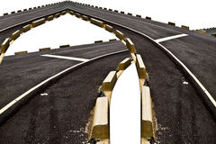 Abstract of the intersection of black asphalt road transport and. Curve with concrete box along beside the way isolated on white background royalty free illustration