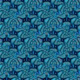 Regular intricate fantasy pattern with wavy lines turquoise blue gray black. Abstract intricate background. Regular fantasy pattern with wavy lines in turquoise Royalty Free Stock Images