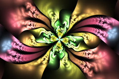 Abstract intricate floral ornament on black background. Fantasy pink, green, yellow and blue fractal design for posters, wallpapers or t-shirts. Digital art. 3D Stock Photos