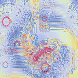 Abstract intricate round fantasy pattern yellow orange red violet purple Stock Photo