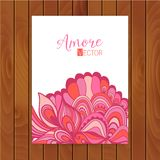 Abstract invitation card with abstract wave. Template wavy frame design for card, banner on wood. Stock Photography