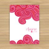 Abstract invitation card with abstract wave. Template wavy frame design for card, banner on wood. Stock Photo