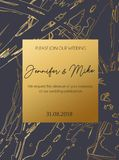 Abstract invitation or greeting card template for wedding, engag. Ement, anniversary etc. Elegant brush textured background with lettering and golden abstract Vector Illustration