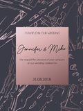 Abstract invitation or greeting card template for wedding, engag. Ement, anniversary etc. Elegant brush textured background with lettering and rose gold abstract Royalty Free Illustration