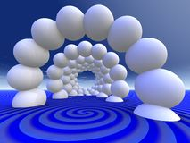 Abstract - Inviting Tunnel. A surreal tunnel of spheres.  Inviting to enter Stock Photo