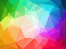 Abstract irregular polygon background with a triangle pattern in full color spectrum rainbow with light reflection in the m. Vector abstract irregular polygon Stock Illustration