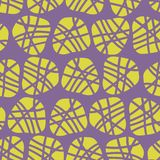 Abstract irregular shapes vector seamless pattern. Lime silhouettes of dots on a purple background. Great for fabric prints, paper vector illustration