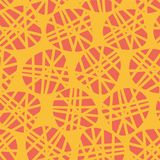 Abstract irregular shapes vector seamless pattern. Peach silhouettes of dots on a orange background. Great for fabric prints, stock illustration